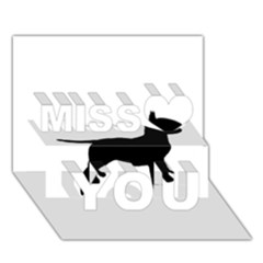 Bull Terrier Silo Black Miss You 3D Greeting Card (7x5)