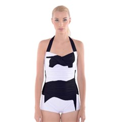 Bull Terrier Silo Black Boyleg Halter Swimsuit