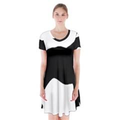 Bull Terrier Silo Black Short Sleeve V-neck Flare Dress