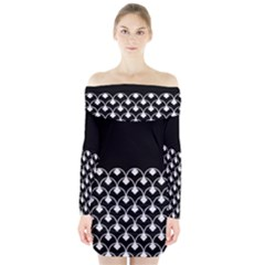 White And Black Geometric Design  Long Sleeve Off Shoulder Dress
