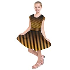 Elegant Black Brown Design With Yellow Golden Strips  Kids  Short Sleeve Dress