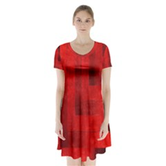 Beautiful Red Geometric Silk Optic Abstract Design  Short Sleeve V Neck Flare Dress