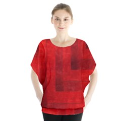 Beautiful Red Geometric Silk Optic Abstract Design  Blouse