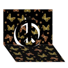 Insects Motif Pattern Peace Sign 3d Greeting Card (7x5)