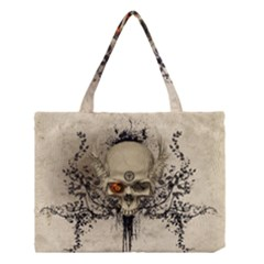 Awesome Skull With Flowers And Grunge Medium Tote Bag