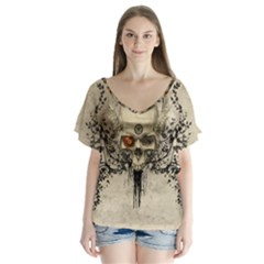 Awesome Skull With Flowers And Grunge Flutter Sleeve Top