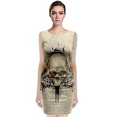 Awesome Skull With Flowers And Grunge Classic Sleeveless Midi Dress