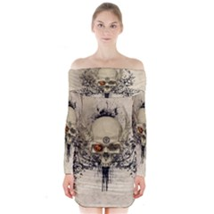Awesome Skull With Flowers And Grunge Long Sleeve Off Shoulder Dress