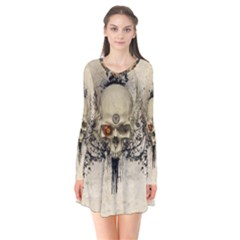 Awesome Skull With Flowers And Grunge Flare Dress