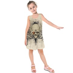 Awesome Skull With Flowers And Grunge Kids  Sleeveless Dress
