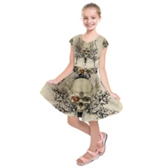 Awesome Skull With Flowers And Grunge Kids  Short Sleeve Dress