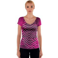 Above & Beyond Sticky Fingers Women s V-Neck Cap Sleeve Top
