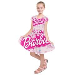 Barbie Pattern Kids  Short Sleeve Dress