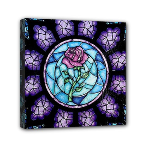 Cathedral Rosette Stained Glass Beauty And The Beast Mini Canvas 6  x 6