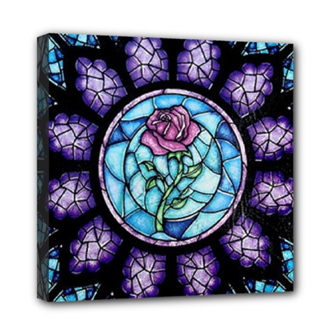 Cathedral Rosette Stained Glass Beauty And The Beast Mini Canvas 8  x 8