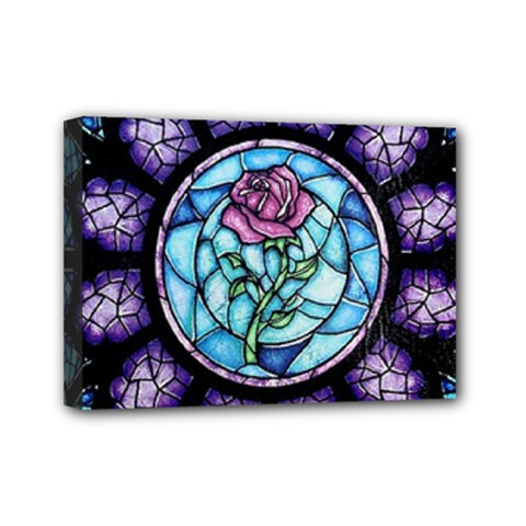 Cathedral Rosette Stained Glass Beauty And The Beast Mini Canvas 7  x 5