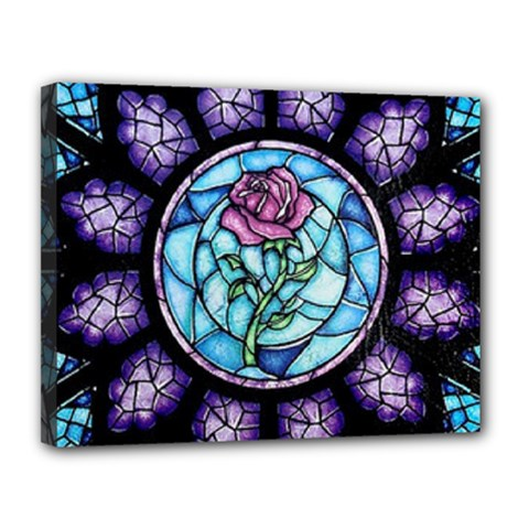 Cathedral Rosette Stained Glass Beauty And The Beast Canvas 14  x 11