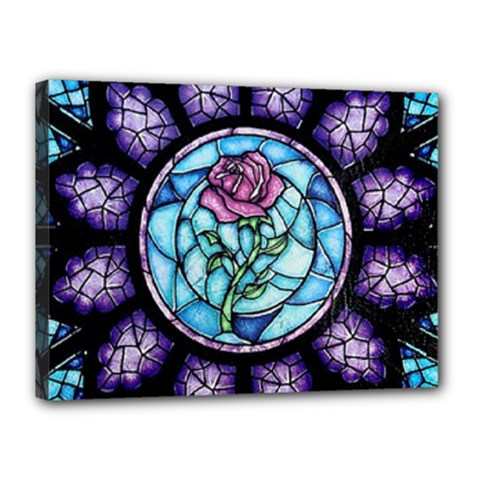 Cathedral Rosette Stained Glass Beauty And The Beast Canvas 16  x 12