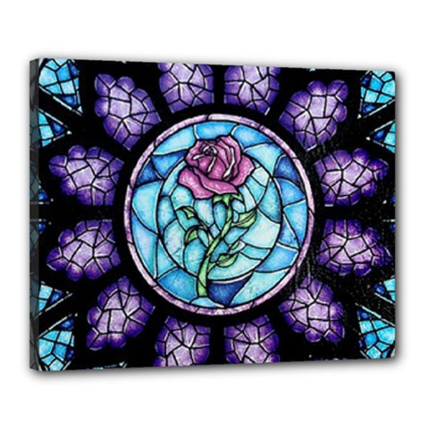 Cathedral Rosette Stained Glass Beauty And The Beast Canvas 20  x 16