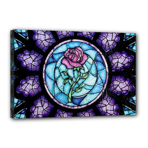 Cathedral Rosette Stained Glass Beauty And The Beast Canvas 18  x 12