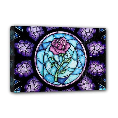 Cathedral Rosette Stained Glass Beauty And The Beast Deluxe Canvas 18  x 12