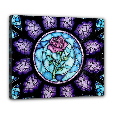 Cathedral Rosette Stained Glass Beauty And The Beast Deluxe Canvas 24  x 20