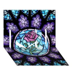 Cathedral Rosette Stained Glass Beauty And The Beast I Love You 3D Greeting Card (7x5)