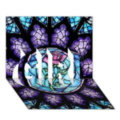 Cathedral Rosette Stained Glass Beauty And The Beast GIRL 3D Greeting Card (7x5)
