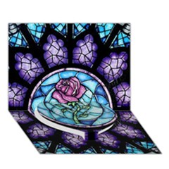Cathedral Rosette Stained Glass Beauty And The Beast Heart Bottom 3d Greeting Card (7x5)