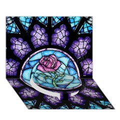 Cathedral Rosette Stained Glass Beauty And The Beast Circle Bottom 3D Greeting Card (7x5)