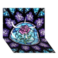 Cathedral Rosette Stained Glass Beauty And The Beast Clover 3D Greeting Card (7x5)