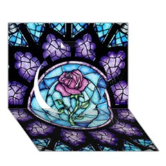 Cathedral Rosette Stained Glass Beauty And The Beast Circle 3D Greeting Card (7x5)