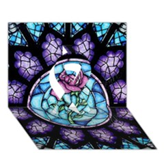 Cathedral Rosette Stained Glass Beauty And The Beast Ribbon 3D Greeting Card (7x5)