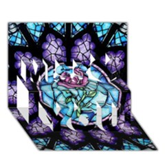 Cathedral Rosette Stained Glass Beauty And The Beast Miss You 3d Greeting Card (7x5)