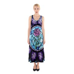 Cathedral Rosette Stained Glass Beauty And The Beast Sleeveless Maxi Dress