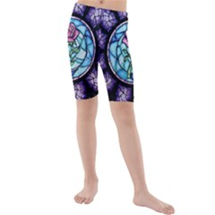 Cathedral Rosette Stained Glass Beauty And The Beast Kids  Mid Length Swim Shorts