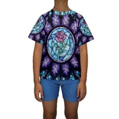 Cathedral Rosette Stained Glass Beauty And The Beast Kids  Short Sleeve Swimwear