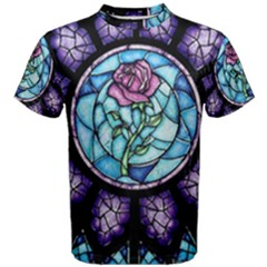 Cathedral Rosette Stained Glass Beauty And The Beast Men s Cotton Tee