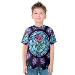 Cathedral Rosette Stained Glass Beauty And The Beast Kids  Cotton Tee