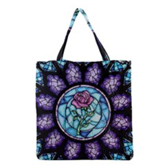 Cathedral Rosette Stained Glass Beauty And The Beast Grocery Tote Bag