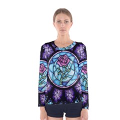 Cathedral Rosette Stained Glass Beauty And The Beast Women s Long Sleeve Tee