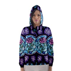 Cathedral Rosette Stained Glass Beauty And The Beast Hooded Wind Breaker (Women)
