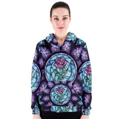Cathedral Rosette Stained Glass Beauty And The Beast Women s Zipper Hoodie