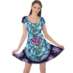 Cathedral Rosette Stained Glass Beauty And The Beast Cap Sleeve Dresses