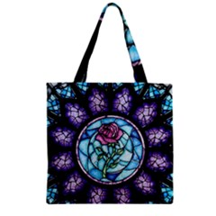 Cathedral Rosette Stained Glass Beauty And The Beast Zipper Grocery Tote Bag