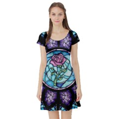 Cathedral Rosette Stained Glass Beauty And The Beast Short Sleeve Skater Dress