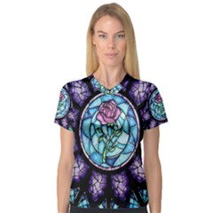 Cathedral Rosette Stained Glass Beauty And The Beast Women s V-Neck Sport Mesh Tee