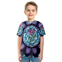 Cathedral Rosette Stained Glass Beauty And The Beast Kids  Sport Mesh Tee
