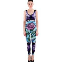 Cathedral Rosette Stained Glass Beauty And The Beast OnePiece Catsuit