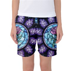 Cathedral Rosette Stained Glass Beauty And The Beast Women s Basketball Shorts